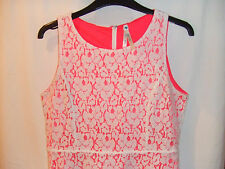 Gorgeous Cream Lace Style Pink Lined Dress from Blue Vanilla - Size Small