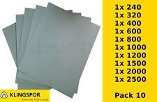 WET AND DRY PAPER 240 320 400 600 800 1000 1200 1500 2000 2500 GRIT - Pack of 10
