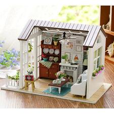 Mini Wooden Dollhouse Happy Times DIY Doll House LED Music Lights Furniture Kits