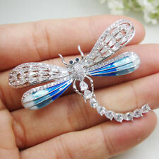 Woman's Elegant Dragonfly Bird Blue Zircon Crystal Pendant Brooch Pin accessorie