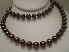Hand Knotted Necklace - Unsigned Vintage Copper Color Faux Pearl