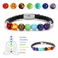 7 Chakra Healing Balance Beaded Bracelet Lava Yoga Reiki Prayer Stones Magnetic