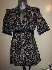 TU black & nude cotton floral satin trim tie back jewel detail top size 10