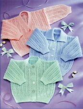 Baby Knitting Pattern Copy Cardigans Various Styles Includes Premmie Size 3 Ply