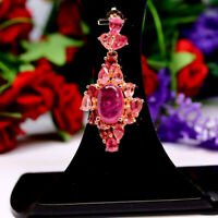 NATURAL 7 X 10 mm. OVAL RED RUBY & PINK TOURMALINE PENDANT 925 STERLING SILVER