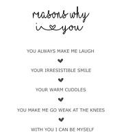 Reasons Why I Love You Print Personalised Valentine Girlfriend Boyfriend Couple