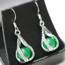 Hand Carved Round Green Jade Drop Dangle Earrings 925 Sterling Silver Jewelry
