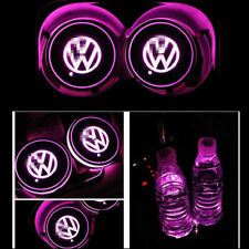 2X Colorful Led Car Cup Holder Bottom Pad Mat Auto Atmosphere Fit For Volkswagen