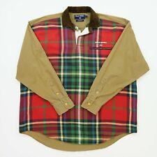 VNTG Ralph Lauren Polo Sport (L/XL)Plaid Knit Corduroy Collar Twill Rugby Shirt