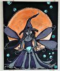 Halloween Witch Magic Salem Fairy Full Moon Painting Original Canvas Art