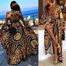 Womens Floral Printed Boho Sundress Long Maxi Dress Backless Summer Beach Dress