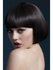 """FEVER MIA WIG LADIES BROWN 10"""""""" FANCY DRESS WIG WITH FRINGE BOWL CUT"""