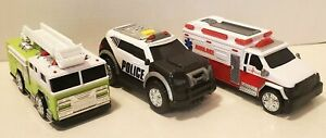 Lot of 3 Rescue Vehicle Toys with Integrated Electronic Sounds and Lights