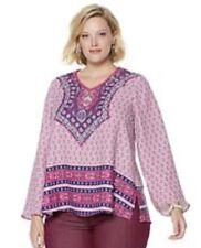 New Women Plus 1X DG2 Diane Gilman Border-Print Woven Crepe V-Neck Tunic Pink