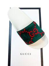 NIB Gucci Women's G Velvet Pursuit Slides Sandals size 39