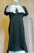 1940's vtg Black Rayon Crepe Dress Noir Bombshell Wiggle Pinup Fit Flare Small