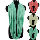 Fashion Womens Solid Color Infinity Scarf Soft Viscose Wrinkled Lady Scarves New