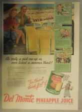 Del Monte Pineapple Juice Ad: A Zesty Pick-me-up! 1940's 11 x 15 inches