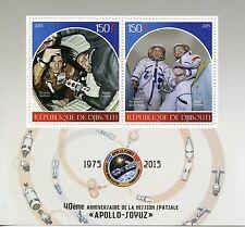 Gibuti 2015 Gomma integra, non linguellato Missione Spaziale Apollo Soyuz 40th ANNIV 2v M/S LEONOV FRANCOBOLLI