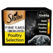 Sheba Fine Flakes Poultry in Jelly Wet Cat Food Pouches - 12 x 85g