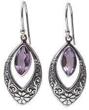 Pair of AMETHYST EARRINGS 925 Sterling SILVER 43mm Drop : Marquise Gemstone