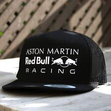 Aston Red Bull Racing F1 Flat Bill Black Edition Snapback Trucker Cap OSFM New