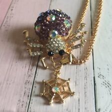 Betsey Johnson Purple Crystal Spider Pendant Long Chain Necklace Halloween