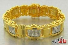 14K Gold Plated Mens Simulated Diamond Bracelet Big Chunky Link Smooth
