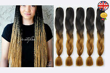5 Black & Brown Blonde Ombre Two Tone Dip Dye Kanekalon Braiding Hair Extensions