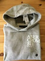 NWT $68 ABERCROMBIE & FITCH Men's Popover Grey Logo Hoodie XS by Hollister