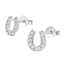 Clear Crystal Horse Shoe Sterling Silver Stud Earrings 7mm - UK SELLER