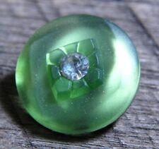 "Vintage Satin Finish Green Glass Button Rhinestone embellised mercury back 3/4"""