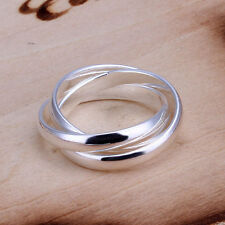 925 Silver Plt Triple Interwoven Band Infinity Ring Statement Three Thumb