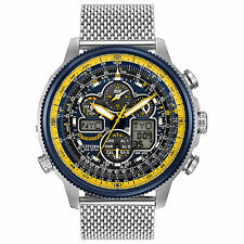 New Citizen Eco-Drive Navihawk Chrono AT Mesh Bracelet Men's Watch JY8031-56L