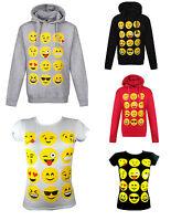 Kids Boys Girls Emoji Emoticons Smiley Faces Short Sleeve T-Shirts Hoodies 7-13