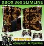XBOX 360 SLIM STEAMPUNK GEARS VICTORIAN COGS STEAM STICKER SKIN & 2 PAD SKINS