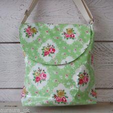 Vintage Messenger Satchel Bag Oilcloth Green Floral Rose Large Handbag CLEARANCE