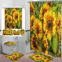 4PC/Set Anti-Slip Bathroom Toilet Rug+Lid Toilet Cover+Bath Mat+Shower Curtain Y
