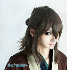 Hakuouki Okita Souji short Brown mix Cosplay Anime Full Wig+ free wig cap