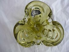 "CHALET SIGNED ""VINTAGE"" GREEN TO CLEAR ART GLASS PIECE (#1316B)"