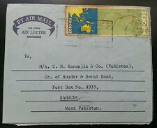 MALAYSIA TO PAKISTAN POSTALY USED AEROGRAMME WITH STAMP 1967 L@@K!!