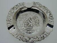Ornate Dutch Silver Ashtray Ring Tray People Farm Scene Rococo Style 43.4 g