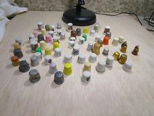 Lot of 65 Thimbles Collection Pewter, Advertising, Porcelain, Plastic, Animals