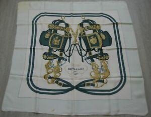 Ancien foulard HERMES soie Brides de Gala vintage 82x87