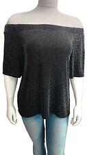 Womens off Shoulder Lurex 3/4 Sleeve Plus Size Ladies Top 14-28 Black 16