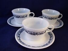 Corelle Old Town Blue Onion 3 Cup & Saucer Sets Pyrex Glass Vintage Retro USA