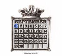 QVC Personalized September 22 Sapphire Crystal Silvertone Calendar Crown Pendant