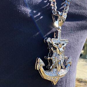 "Mens Huge Large Mariners Cross Jesus Anchor Cuban Hip Hop Chain Silver Tone 30"""