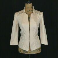 White House Black Market 6 Blazer Khaki Beige Lace Up 3/4 Sl Pocket Jacket Work