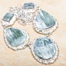 "Handmade Russian Seraphinite Gemstone 925 Sterling Silver Necklace 20"" #N00959"